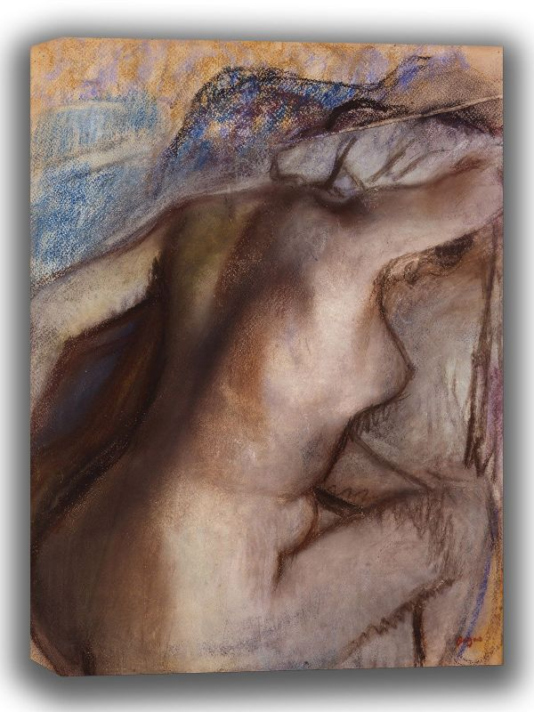 Degas, Edgar: After the Bath, Woman Drying Herself. Fine Art Canvas. Sizes: A4/A3/A2/A1 (003735)